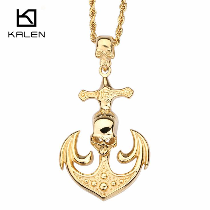 Kalen New Punk Stainless Steel Necklaces Men's Gold Color Personality Skull Anchor Pendant Necklace Twisted Chain Fashion Collar