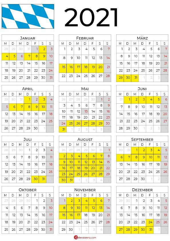 2021 kalender bayern hochformat in 2020 | Ferien in bayern ...