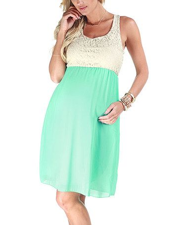 Take a look at this Mint Green Crocheted Maternity Dress - Women by PinkBlush Maternity on #zulily today!