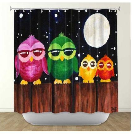 DiaNoche Designs Owls On A Fence BLACK By Nicola Joyner Fabric Shower  Curtain