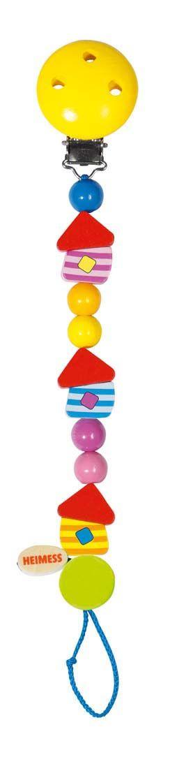 Afmetingen circa 21 cm lang.  Heimess speelgoed is uitvoerig getest en voorzien van het GS keurmerk. Omdat kleine kinderen veel speelgoed in de mond nemen is het belangrijk dat er hoogwaardige materialen gebruikt worden. De verf die Heimess gebruikt is op waterbasis en voor baby;s absoluut niet giftig en ongevaarlijk.Eventuele metaaldelen zijn van roestvrijstaal dat geen nikkelallergie kan veroorzaken. - Heimess Speenketting Huisje