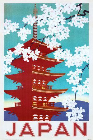 vintage Japan Travel Tourism PosterCherries Blossoms, Vintage Posters, Picture-Black Posters, Travel Photos, Posters Prints, Art Prints, Art Posters, Vintage Travel Posters, Japan Travel