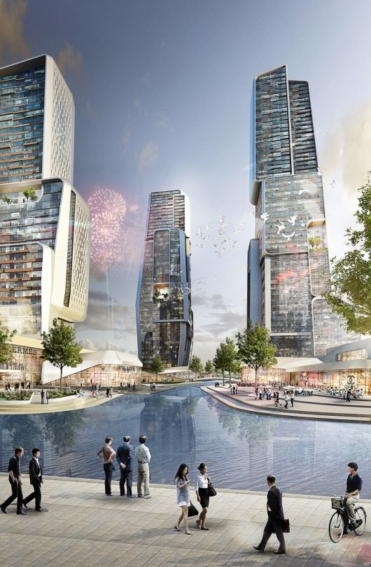 UNStudio to Design Yongjia World Trade Center in Wenzhou, China | Rendering of UNStudio's proposed Yongjia World Trade Center (Image: UNStudio; Rendering: moka-studio) | Bustler