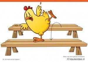 Bewegingskaarten kip voor kleuters 25, Van bank op bank stappen , kleuteridee.nl , thema Lente, Movementcards for preschool,  free printable.