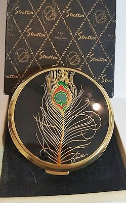 VTG Stratton PEACOCK FEATHER Enamel Powder Compact Signed Stratton on Lid. N.I.B