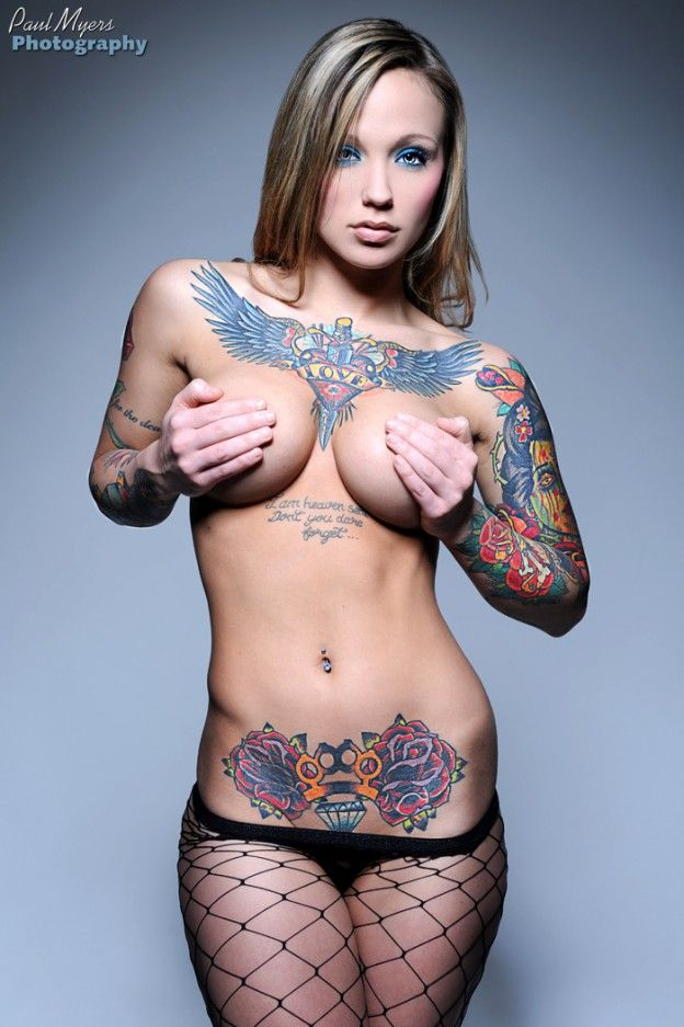 Brass Knuckle Diamond Rose Stomach Tattoo  Tattooed Girls -4060