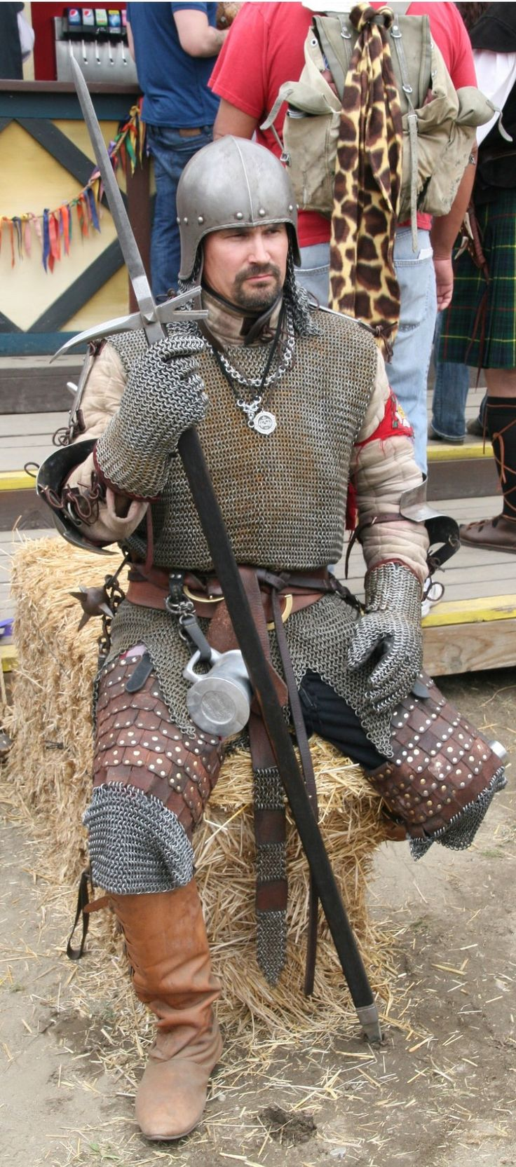 Armor 15th century, military campaign armored German light infintry, mercenarie, German flail, Bec de corbin, gambeson, Chainmail shirt, jack chains, chainmail gloves, Brigandine upper leg armor, open face sallet with Aventail. David Bobrink