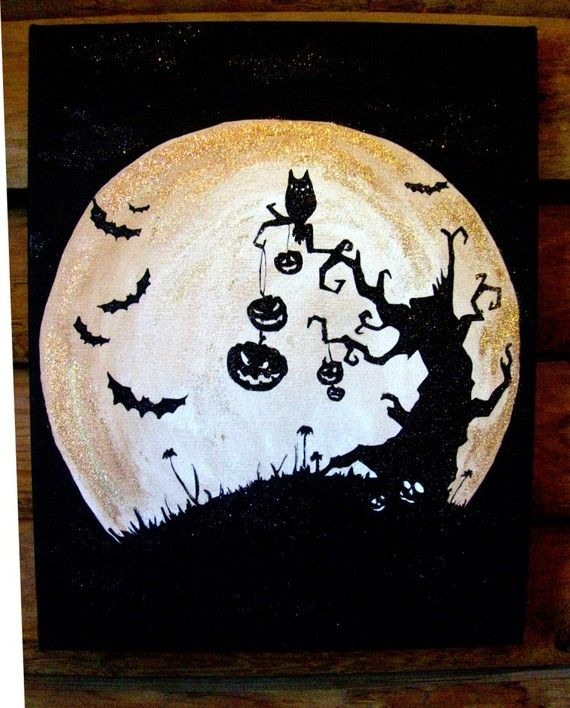 16x20 hand painted and glittered Halloween Art Black and Copper Glittered Halloween Art with bats, owl, and Spooky tree