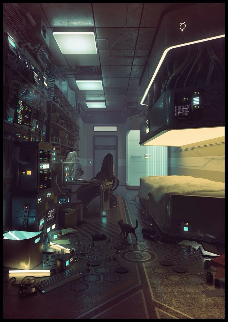 Laboratory Room Design: Cyberpunk Hacker's Apartment.