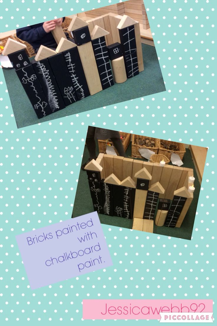 Paint bricks with chalkboard paint. We added windows, plants, characters... EYFS