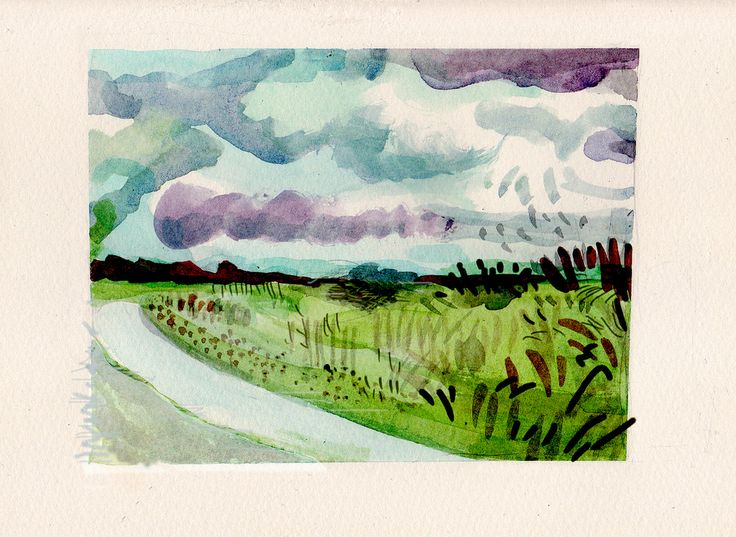 Landscape: watercolour and digital. Thank you to Mr David Hockney.