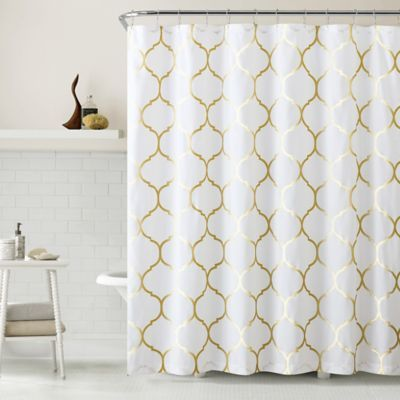 VCNY Metallic Ogee Shower Curtain in Gold/White - BedBathandBeyond.com
