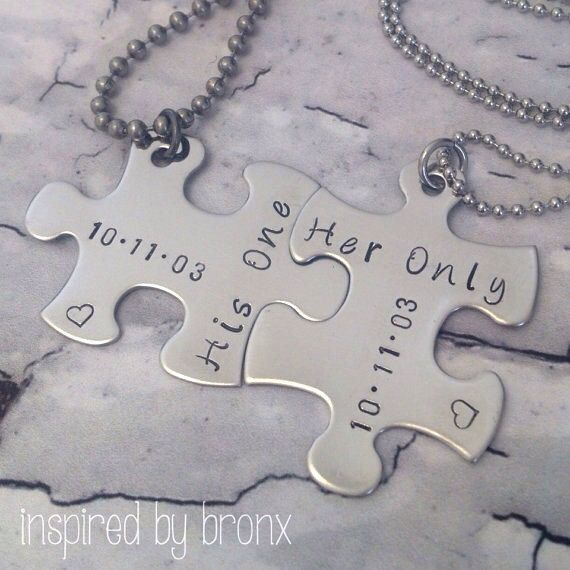 Personalized couples necklace, hand stamped puzzle pieces, His & Hers jewelry, puzzle charm, puzzle jewelry