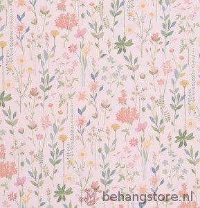 Van Sand Field of Flowers behang bloemen planten blauw geel groen roze - Room 7