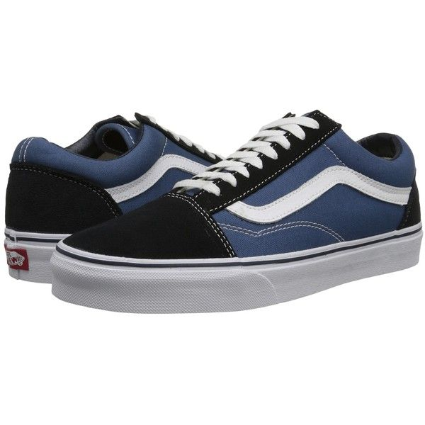 Vans Old Skool Core Classics (Navy) Shoes ($60) ❤ liked on Polyvore featuring shoes, shock absorbing shoes, vans shoes, vans footwear, print shoes and patterned shoes