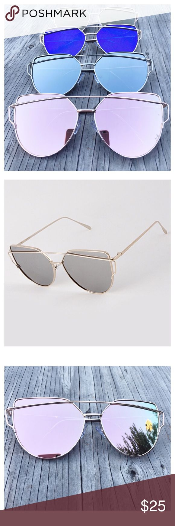 Top Quality! Mirrored Sunglasses, Cat Eye Sunglass Sale! Cat Eye Aviator Sunglasses. This listing is for a pair of Cat Eye aviator sunshades. Retro. Wire sunglasses. Trending sunglasses. Available in: Rose Gold, Gold, Silver, and Blue. UV protection. Top quality! Brand new! SOLD OUT OF ROSE GOLD. Accessories Glasses