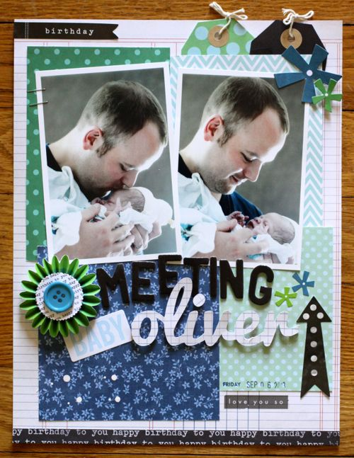 Sentimental Father's Day Scrapbook Layout via @justem for @Pebbles Inc. using #SpecialDelivery & #BirthdayWishes collections #scrapbooking