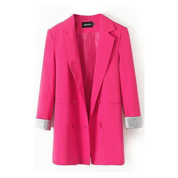 LUCLUC Rose Red One-button Boyfriend Blazer (69 BAM) ❤ liked on Polyvore featuring outerwear, jackets, blazers, boyfriend jacket, pink blazer, pink boyfriend blazer, pink jacket y rose blazer