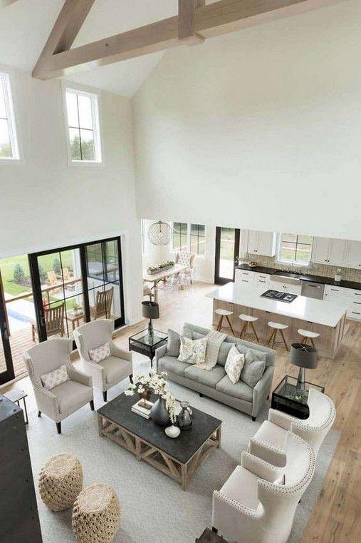 34 Creative Farmhouse Design Ideas For Interior In 2020 Open Living Room Design Farm House Living Room Modern Houses Interior