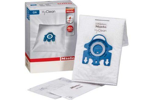 Miele GN Hyclean Pack of 4 Vacuum Cleaner Dust Bags The original Miele AirClean system - more than 99.9% filtration Entire volume of the bag is available - more dust capacity Greater volume for granules and fibres Automati (Barcode EAN = 5130025500195) http://www.comparestoreprices.co.uk/january-2017-2/miele-gn-hyclean-pack-of-4-vacuum-cleaner-dust-bags.asp