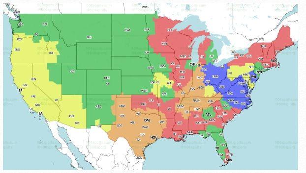 2016 NFL Week 4 Schedule TV Map