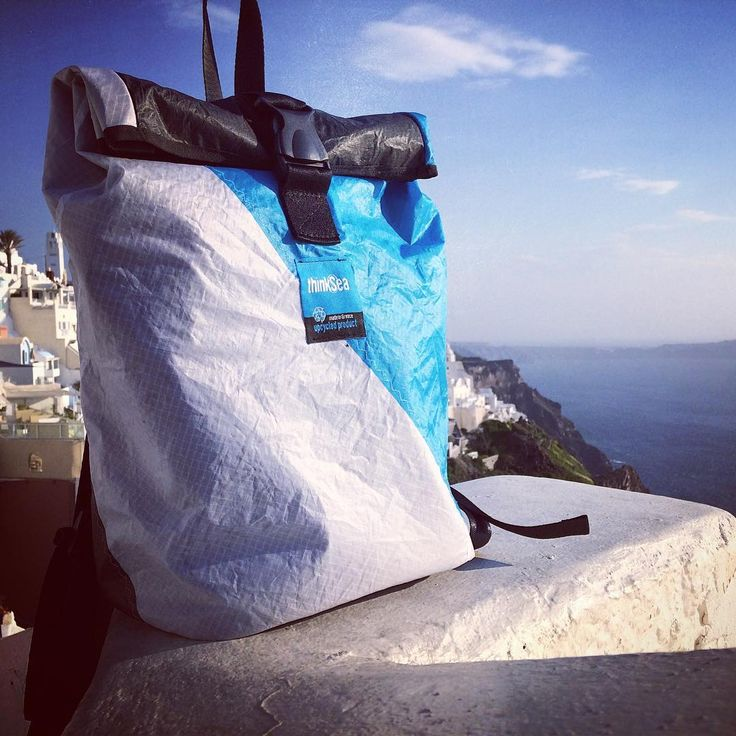 Introducing the sea-ty backpack. It's great to be in the city, but it's time to head back to the island. #backpack #thinksea #reused #recycle #handcraft #unique #summer #travelbag #madeingreece #paros #parosutfclub #windsurfing #kiteboarding #sails #beachlife #santorini