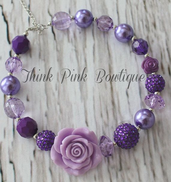 Chunky Lavender Necklace | ... Chunky Necklace, Girls Bubble Gum Necklace, Purple and lavender Chunky