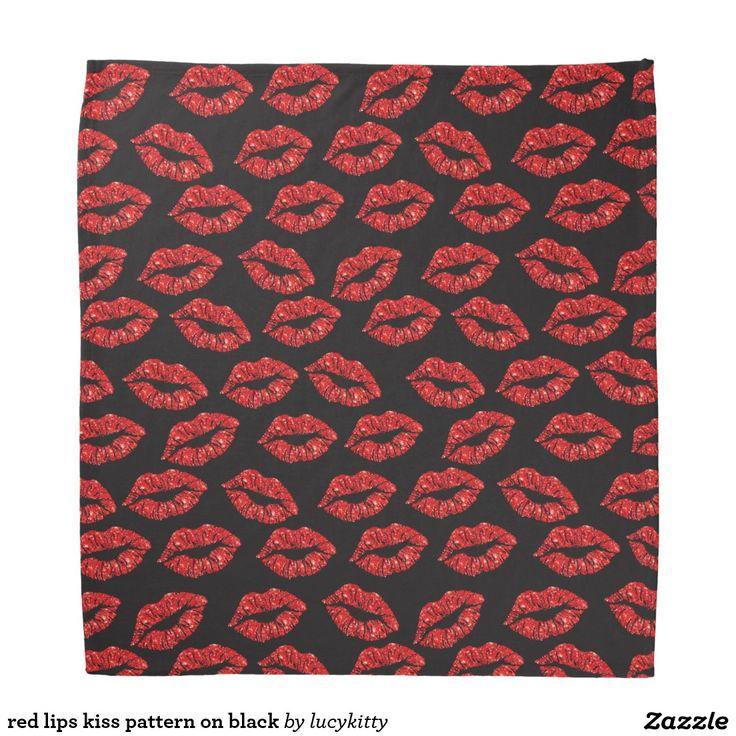 red lips kiss pattern on black bandana