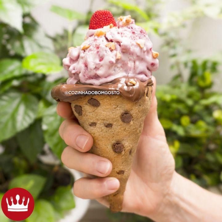 Cone de Cookie: uma casquinha diferente para comer com sorvete!