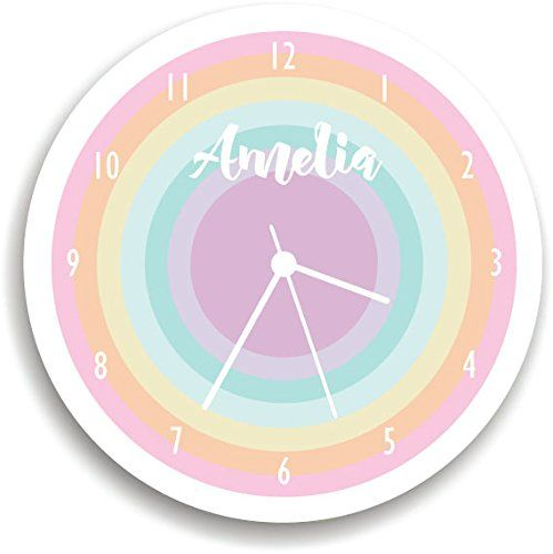 """Personalized Rainbow WALL CLOCK, personalized Wall Clock, playroom, pastel Children Room Decor,. Nursery Wall Clock, Giving a new atmosphere to any nursery! Measurements approximately 10.62"""" Diameter and 0.14"""" high The printed is adhered to the wood, This quality print come with brilliant laminated. The edges are painted dark color in order to make the perfect ending to the wall clock. Our kid-friendly wall clocks are for indoor use only. All wall clocks can be clean with a soft dry…"""