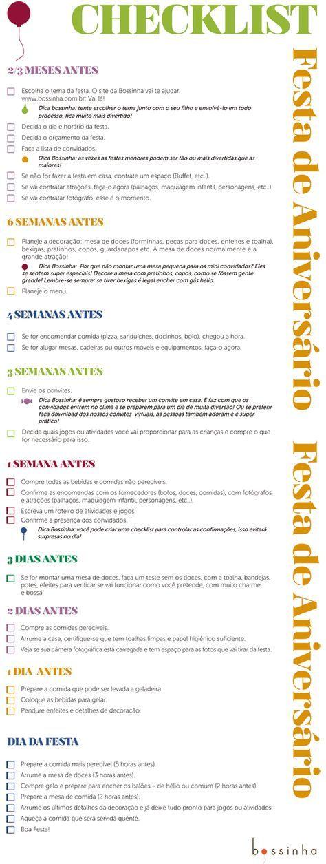 Checklist para organização de aniversário