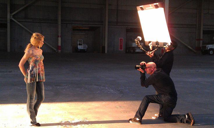 Award-winning Photographer Tim Mantoani, model Alina Selyanina and the crew on location for Understanding the Nikon SB-910 Speedlight. — in San Diego, CA.