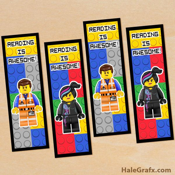 emmet wyldstyle bookmarks FREE Printable LEGO Movie Emmet and Wyldstyle Bookmarks