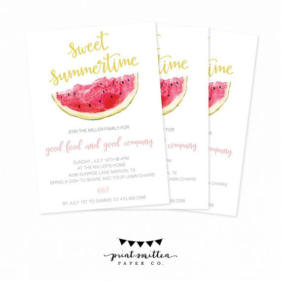 Summer Party Invitation. Summertime Welcome To by PrintSmitten