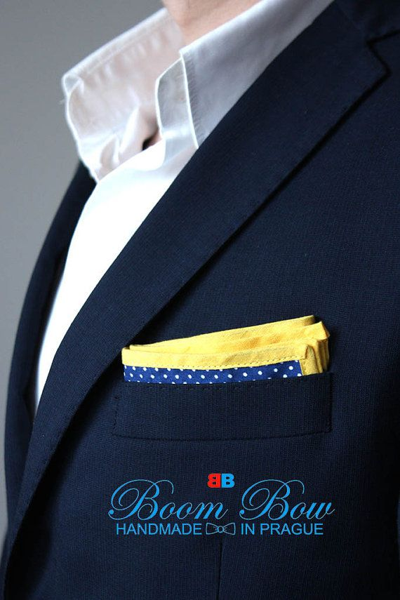 Pocket Square 16 Cotton blue polka dot and yellow by BoomBowTie