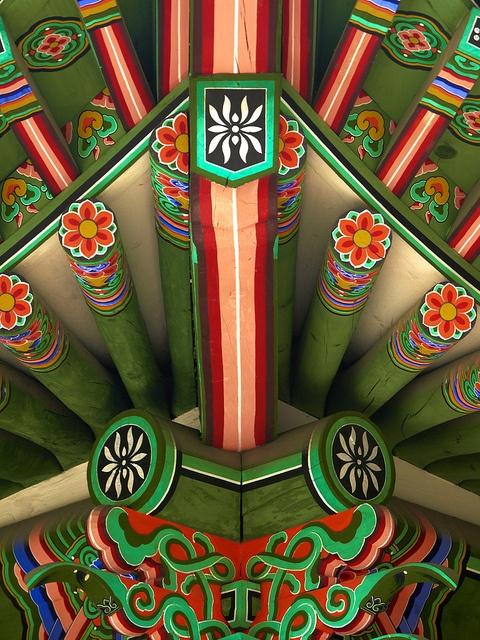 Korean Temple | Tattoo idea | colors | flowers