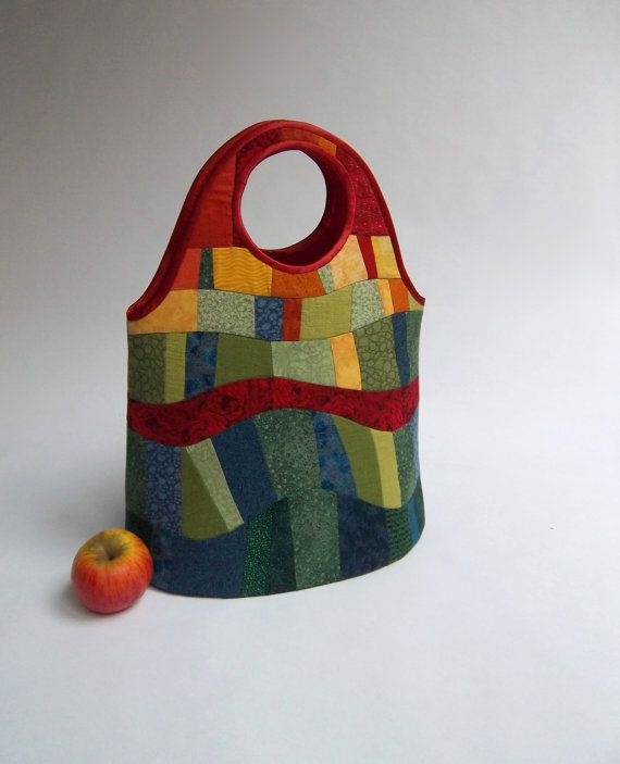 patchwork basket with bright colors : red, yellow, orange and green