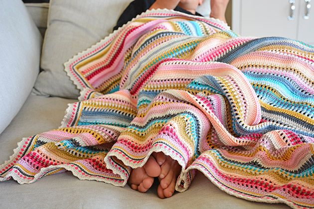 Stripes And Colours Crochet Blanket Pattern And Kit Afghan Crochet Patterns Crochet Blanket Patterns Striped Crochet Blanket