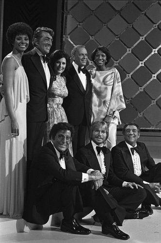 """""""Sinatra and Friends"""" Leslie Uggams, Dean Martin, Loretta Lynn, Frank Sinatra, Natalie Cole, Tony Bennett, John Denver, Robert Merrill. 1978."""
