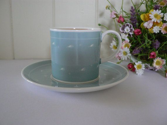 Susie Cooper 1950's vintage blue coffee cup by MaddyVintageHostess