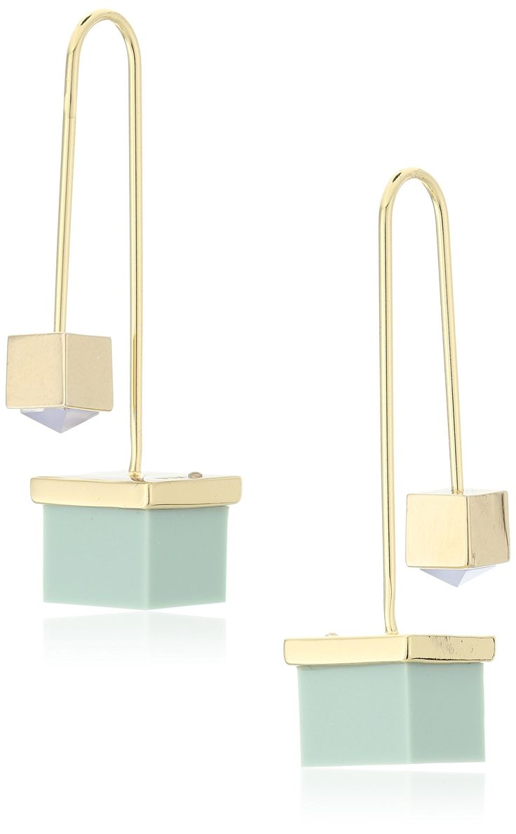 Rebecca Minkoff Cube Hard Wire Threaded Earrings. Made in China. Rhodium plated threader earring with green cubes and blue stones. Store in protective pouch, do not wear in water. Designed in New York, Made in China. Imported.