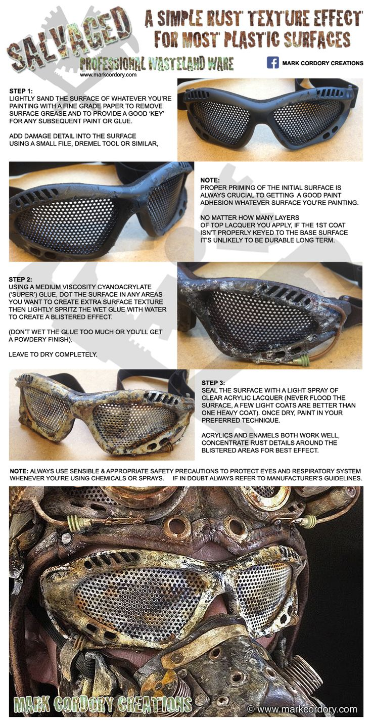 Post Apocalyptic costume & crafting - a simple rust texture tutorial for most plastic surfaces. www.markcordory.com Facebook: Mark Cordory Creations