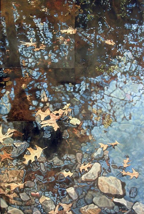 Drew Galloway,  Creek,  2010,  oil on tin,  41 x 27 inches