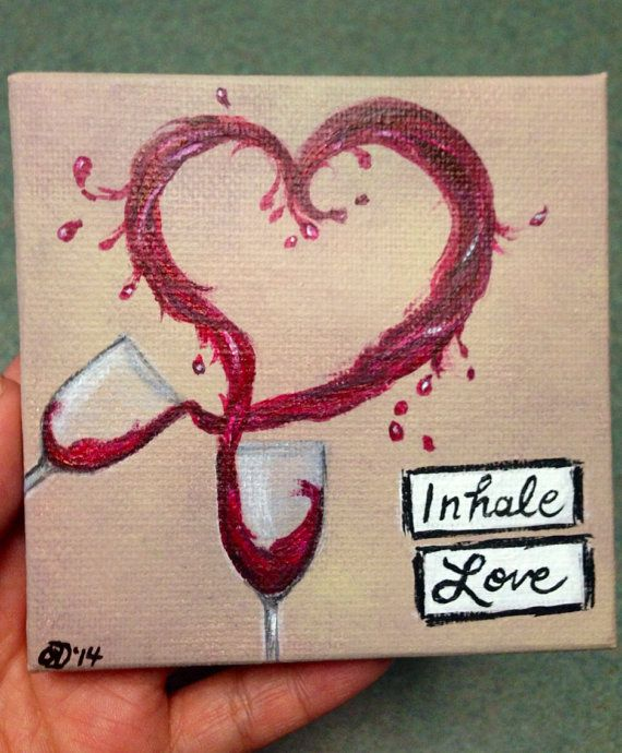 Made to Order - Wine Glasses Heart - 4x4 mini canvas with easel on Etsy, $16.00