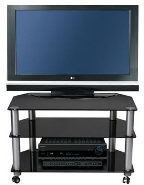 """Stil Stand Glass Tv Stand / Glass TV Trolley up to 32"""". STUK1401 BL/CA      Suits up to 32"""" LCD/Plasma TV     Black Glass Shelves     Toughened Safety Glass     Aluminium Legs     All of our black glass TV stands are compatible with most popular brands of television.  Dimensions: 800mm (w) x 400mm (d) x 507 (h)  mm  STUK1401BLCA."""