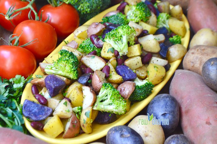Roasted Potato Salad     Can be served hot or cold and with or without apple cider dressing. So tasty on it's own and super nutritious with purple potatoes!