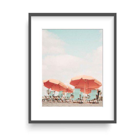 Beach Chairs And Umbrellas Print Beach Photography Wall Art Summer