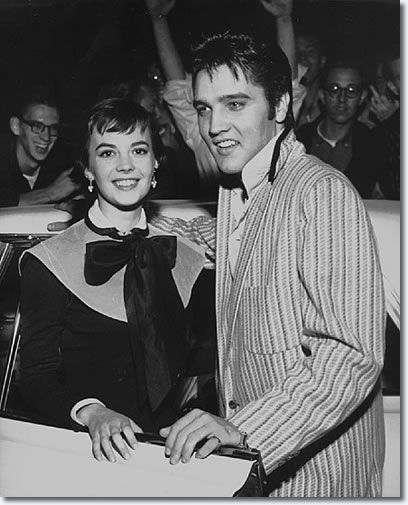 Natalie Wood and Elvis Presley outside the Hotel Chisca Wednesday October 31, 1956. Elvis had returned earlier in the day from New York where he had made his second appearance on The Ed Sullivan Show Sunday (10/28) night.