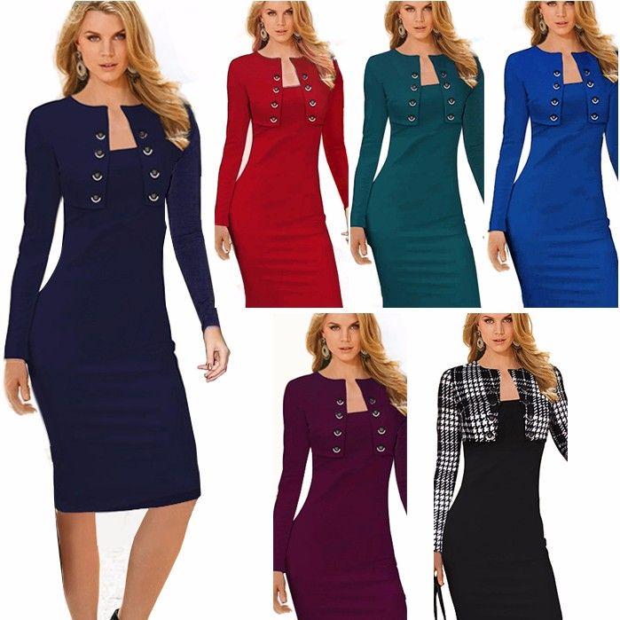 Ницца навсегда Зима С Длинным Рукавом Кнопки офис Бизнес Dress Элегантный Плюс Размер Женщины Винтаж Pinup Bodycon Карандаш Dress b10 купить на AliExpress