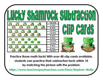 Practice those math facts! With over 40 clip cards available,       students can practice their subtraction facts within 10                    by matching the picture with the problem.These would be great in small group, math centers, or independent practice.